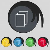 Copy file sign icon. Duplicate document symbol. Set of coloured buttons. Vector