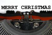 Typewriter Types Merry Christmas  Closeup