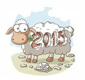 Year Of The Sheep 2015 Vector Cartoon