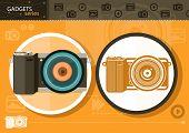 Digital camera in frame on orange background