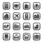 travel, transportation and vacation icons