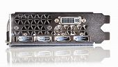 professional gaming graphic card, connectors panel front view