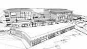 stock photo of public housing  - A sketch of a public building - JPG