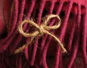 Twine bow against wool pink fringe