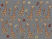 Seamless Background With Psychedelic Giraffes
