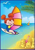 Girl loves windsurfing.