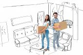 Happy young couple with moving boxes against living room sketch