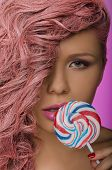 Woman With Pink Hair And Candy