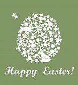 image of applique  - Easter applique with decorative egg and rabbit - JPG