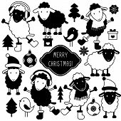 Set Of Cute Sheep In Winter Clothes And Various Christmas Elements