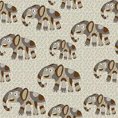 Seamless Background With Psychedelic Elephants
