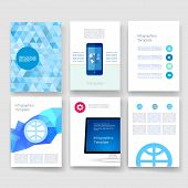 Vector brochure design templates collection. Applications and Infographic Concept. Flyer, Brochure D