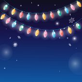 Winter Background With Garlands Lamps