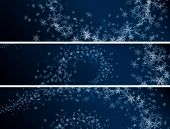 Set Of Winter Abstract Snowflakes Banners.