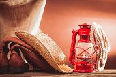 stock photo of leather tool  - old vintage cowboy tools  - JPG