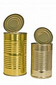 Two Opened Aluminum Cans Of Food