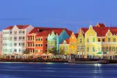 stock photo of curacao  - View of downtown Willemstad at twilight - JPG