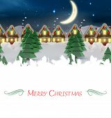 Composite image of christmas card against quaint town with bright moon