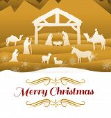border against nativity scene vector under starry sky