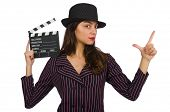 Woman with movie clapboard isolated on the white
