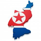 detailed illustration of a map of North Korea with flag, eps10 vector