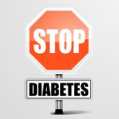 detailed illustration of a red stop diabetes sign, eps10 vector