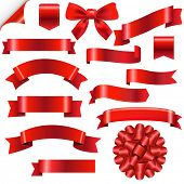 Big Red Ribbons Set With Gradient Mesh, Vector Illustration
