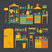 Vector designer - kitchen furniture & kitchen tools