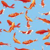 Golden koi fishes seamless vector print