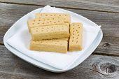 Fresh Shortbread Cookies On White Cloth Napkin
