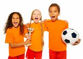 Happy soccer team game with prize cup screaming