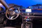Sport car interior at night