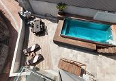 Modern house, swimming pool view, outdoor