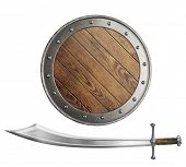 stock photo of saber  - medieval wooden shield and sword or saber isolated - JPG