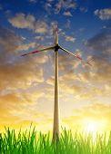 Wind turbine in the sunset
