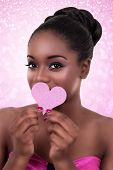 image of flirty  - African American black woman heart love Valentine - JPG
