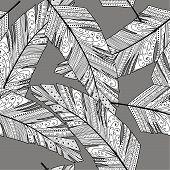 Feather seamless background. Hand drawn illustration vintage pattern