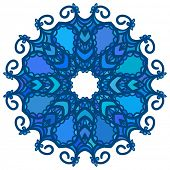 Blue round pattern, Circular ornament design element, Vector isolated