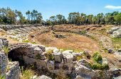 Ancient Roman Amphitheater In Syracuse, Sicily, Italy