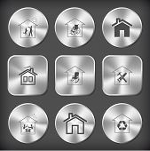 Home set. Vector round and square steel buttons.