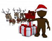 3d render of a morph man santa and reindeer
