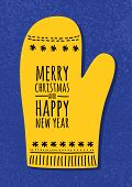 Abstract Vector Yellow Mitten On Blue Grunge Background. Christmas Or New Year Greeting Card, Invita