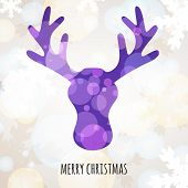Abstract Colorful Vector Deer Head With Winter Background. Christmas Or New Year Greeting Card, Invi