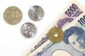 picture of japanese coin  - close up of japanese currency yen coins and bank notes - JPG