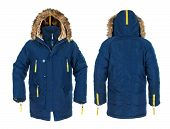 Blue And Yellow Men's Sports Jacket With Fur On Isolated White. Front And Rear Views