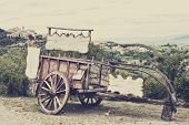 Old wooden cart against vineyards Tuscany