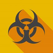 Long Shadow Icon With A Biohazard Sign