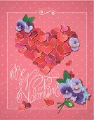 Valentine's Day Card With Red Hearts Confetti In Big Heart Shape, Violet Flowers And Handwritten Tex