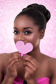 stock photo of flirty  - African American black woman heart love Valentine - JPG