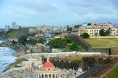 image of el morro castle  - Old San Juan City Skyline and Santa Maria Magdalena de Pazzis Cemetery - JPG